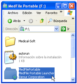 Ejecución manual de MedFile Portable